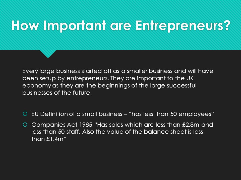How Important are Entrepreneurs? Every large business started off as a smaller business and will have been setup by entrepreneurs. They are important