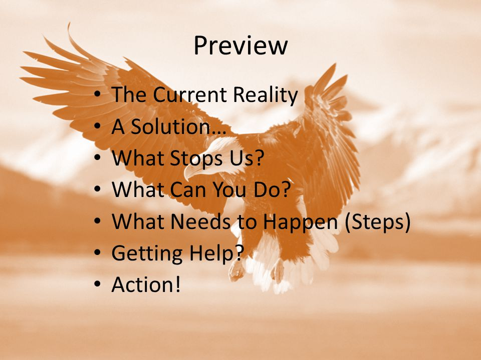 Preview The Current Reality A Solution… What Stops Us.