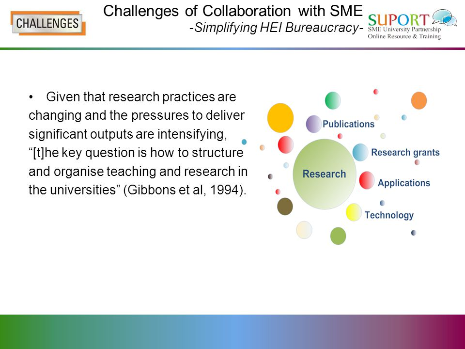 Challenges of Collaboration with SME -Simplifying HEI Bureaucracy- Given that research practices are changing and the pressures to deliver significant outputs are intensifying, [t]he key question is how to structure and organise teaching and research in the universities (Gibbons et al, 1994).