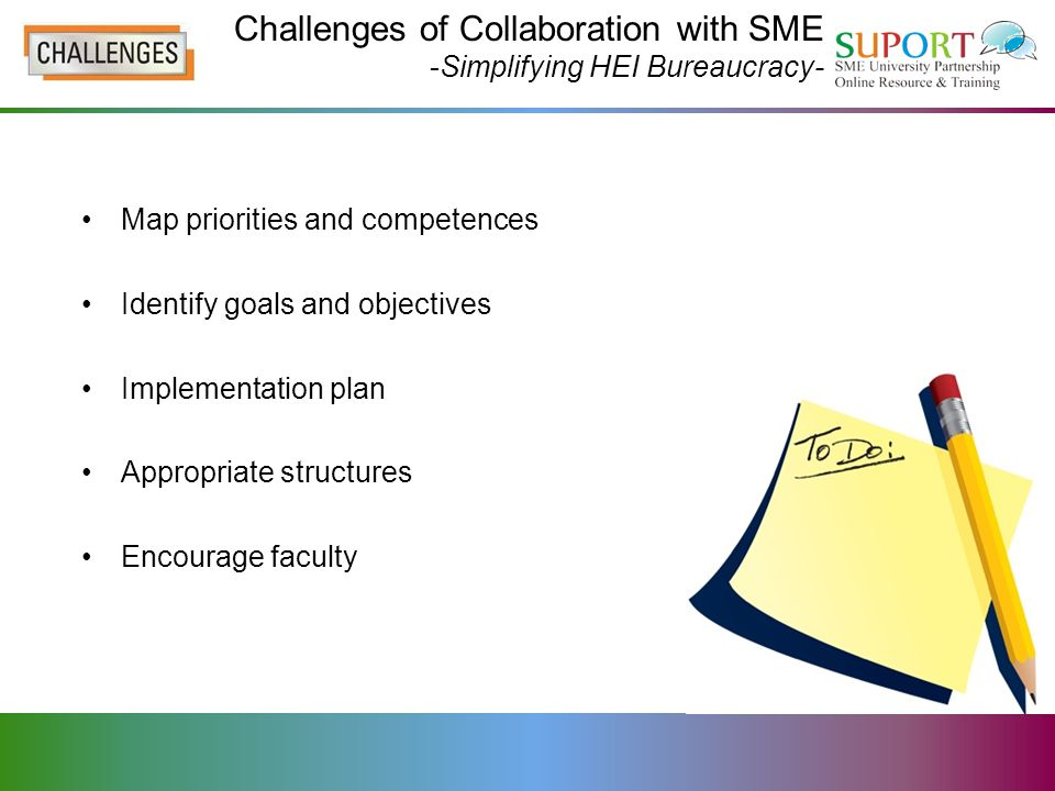 Challenges of Collaboration with SME -Simplifying HEI Bureaucracy- Map priorities and competences Identify goals and objectives Implementation plan Appropriate structures Encourage faculty