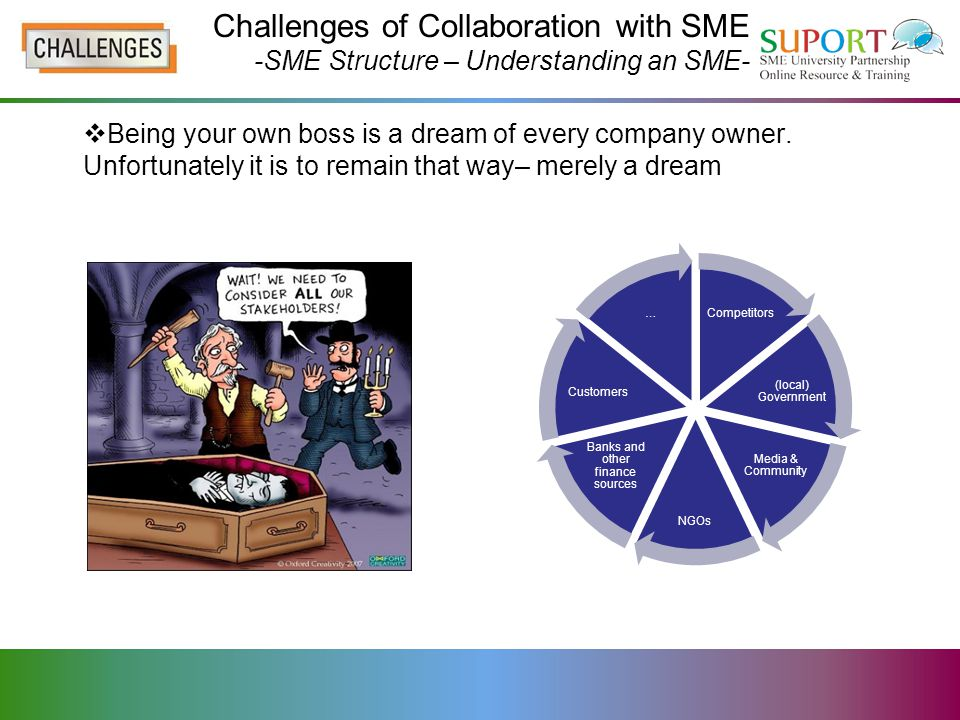 Challenges of Collaboration with SME -SME Structure – Understanding an SME- What to expect from an SME: The key driver-financial benefit Reasonable timeframes Owner/manager holds multiple responsibilities Intimidated by legalese Impatient  Pragmatism might be the word – and the key!