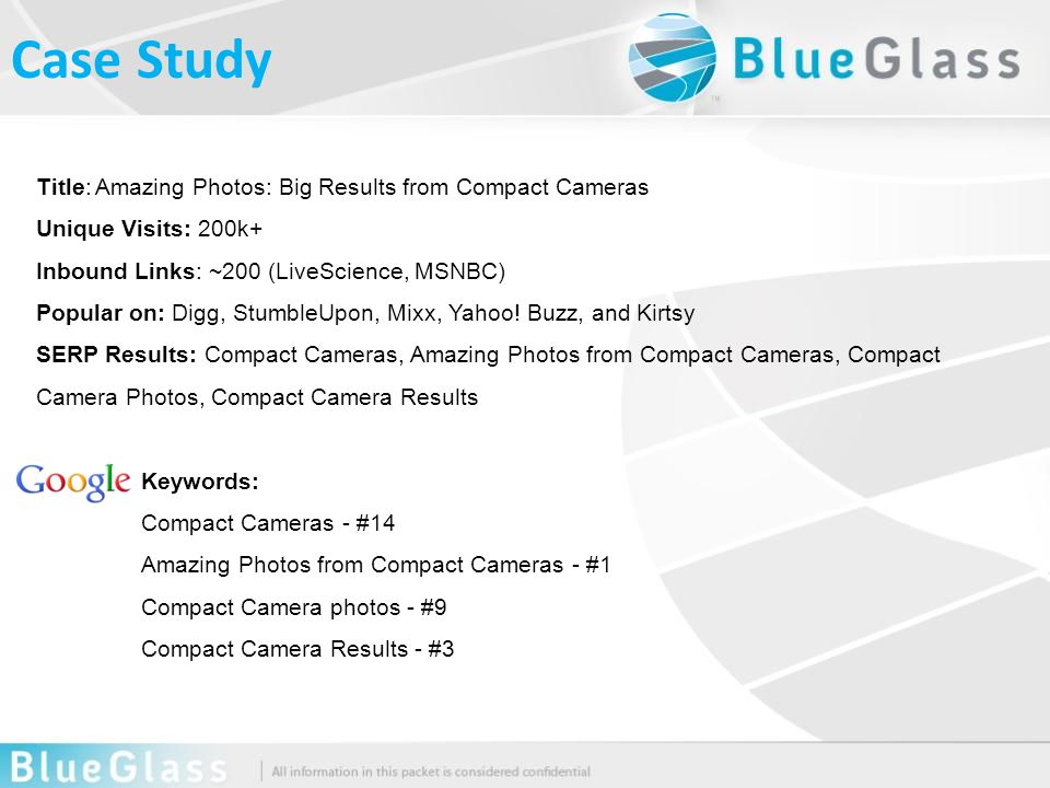 Title: Amazing Photos: Big Results from Compact Cameras Unique Visits: 200k+ Inbound Links: ~200 (LiveScience, MSNBC) Popular on: Digg, StumbleUpon, Mixx, Yahoo.