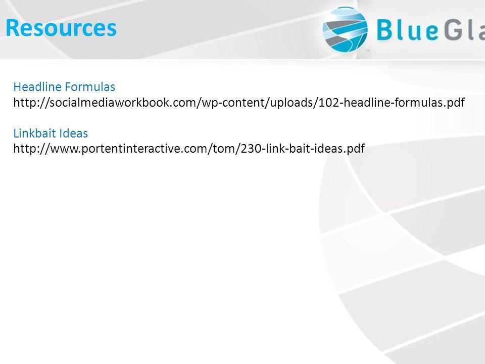 What is LinkbaitResources Headline Formulas http://socialmediaworkbook.com/wp-content/uploads/102-headline-formulas.pdf Linkbait Ideas http://www.portentinteractive.com/tom/230-link-bait-ideas.pdf
