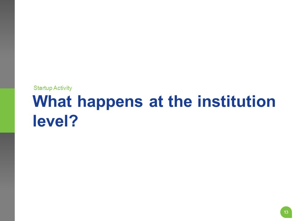What happens at the institution level? Startup Activity 13