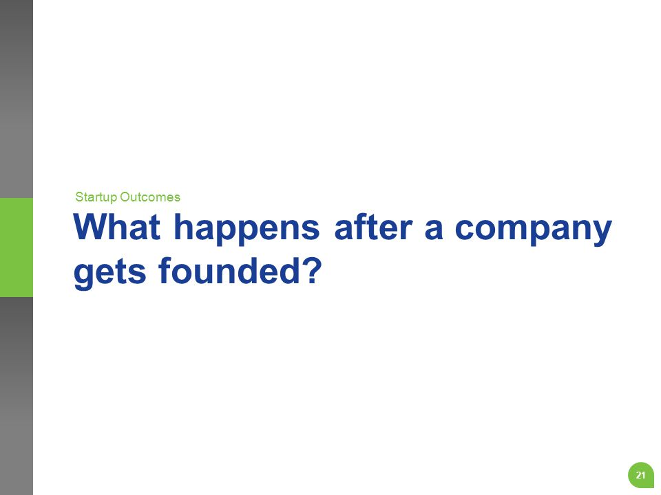 What happens after a company gets founded? Startup Outcomes 21