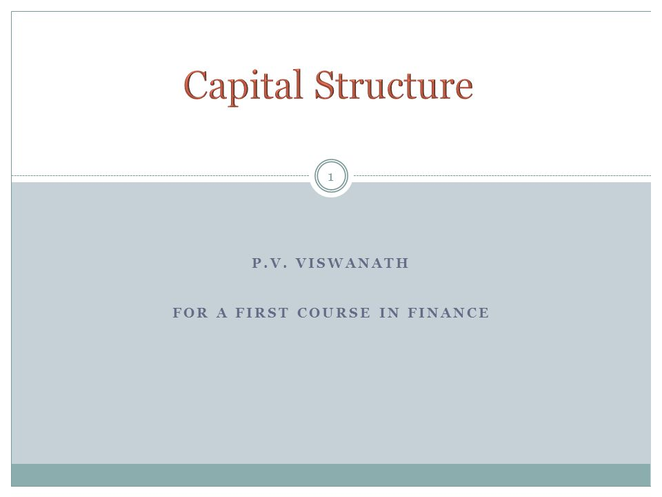 P.V. VISWANATH FOR A FIRST COURSE IN FINANCE 1