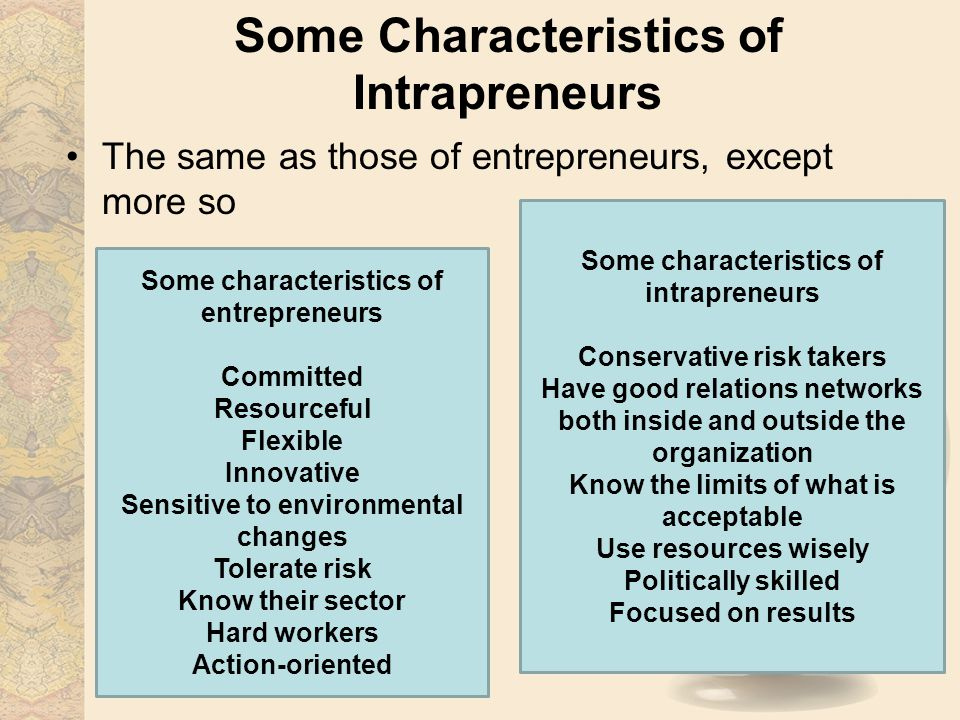 Some Characteristics of Intrapreneurs The same as those of entrepreneurs, except more so Some characteristics of entrepreneurs Committed Resourceful Flexible Innovative Sensitive to environmental changes Tolerate risk Know their sector Hard workers Action-oriented Some characteristics of intrapreneurs Conservative risk takers Have good relations networks both inside and outside the organization Know the limits of what is acceptable Use resources wisely Politically skilled Focused on results