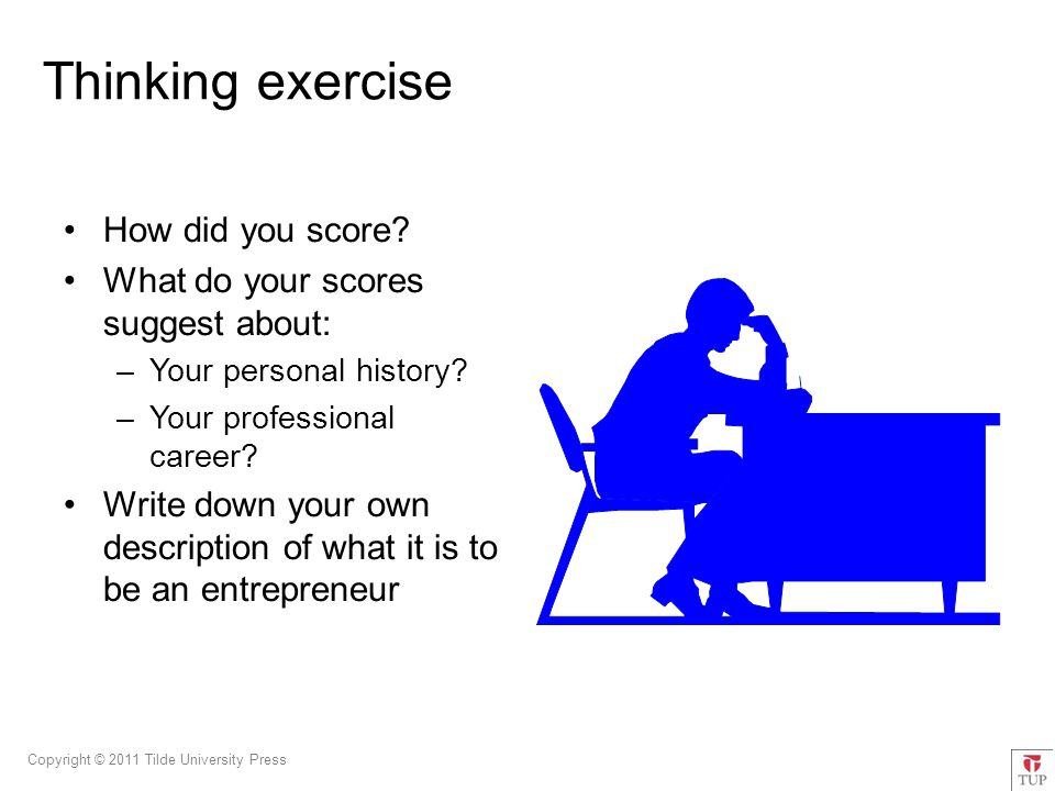 Copyright © 2011 Tilde University Press Thinking exercise How did you score.