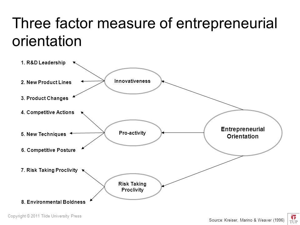 Copyright © 2011 Tilde University Press Entrepreneurial Orientation Innovativeness Pro-activity Risk Taking Proclivity 1.