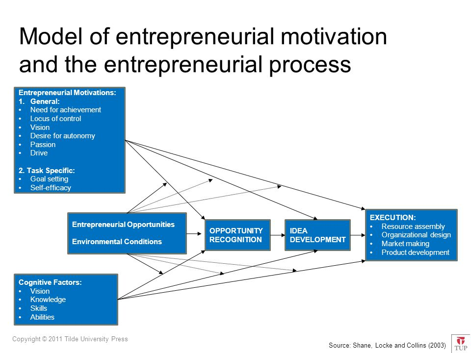 Copyright © 2011 Tilde University Press Entrepreneurial Motivations: 1.General: Need for achievement Locus of control Vision Desire for autonomy Passion Drive 2.