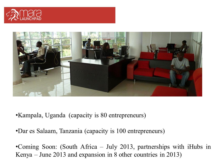 Kampala, Uganda (capacity is 80 entrepreneurs) Dar es Salaam, Tanzania (capacity is 100 entrepreneurs) Coming Soon: (South Africa – July 2013, partner