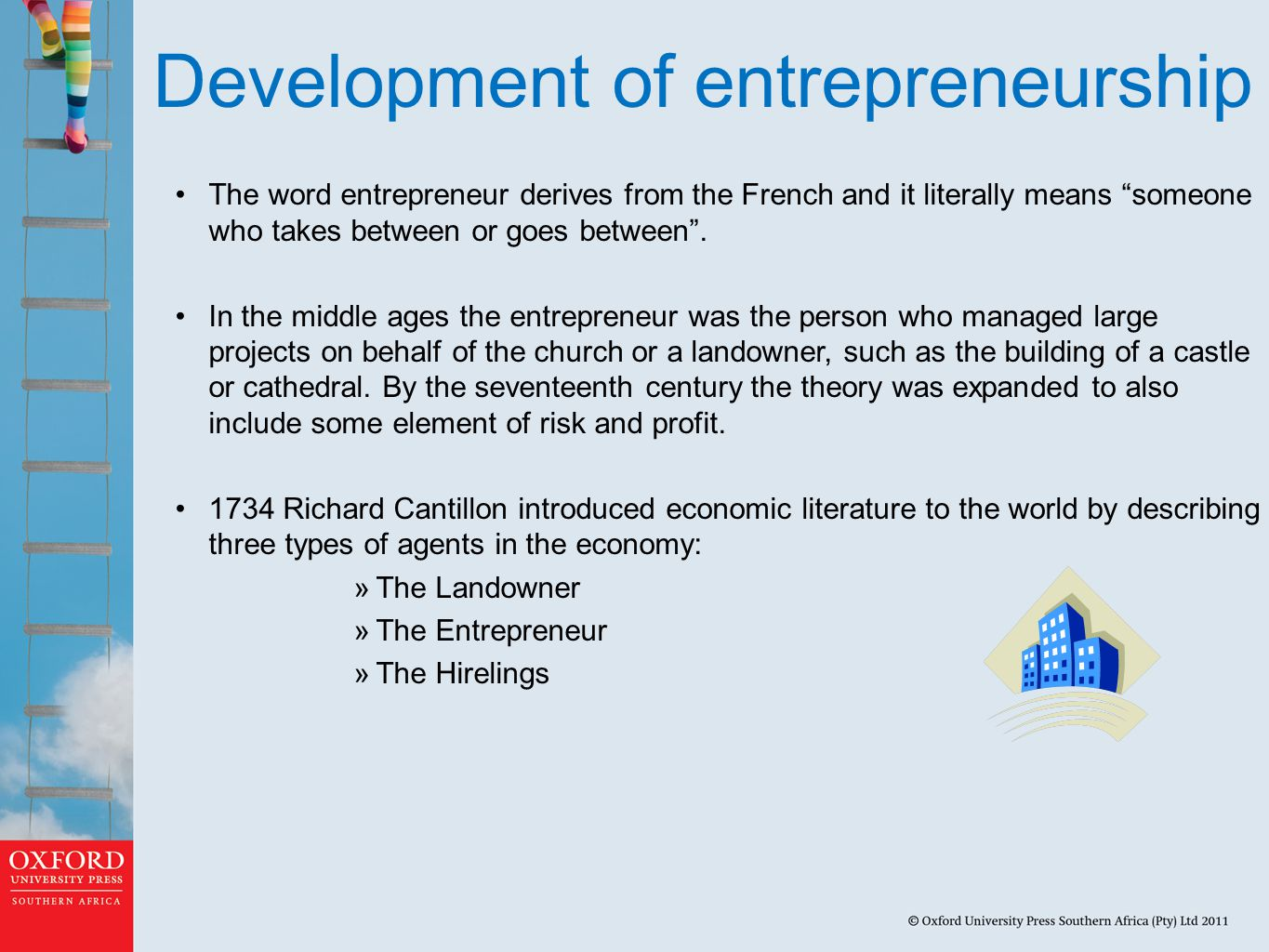 Development of entrepreneurship The word entrepreneur derives from the French and it literally means someone who takes between or goes between .