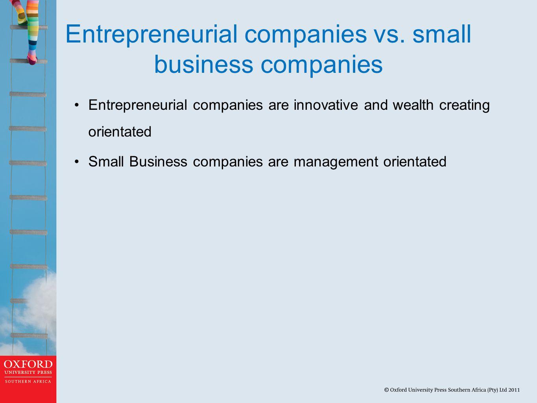 Entrepreneurial companies vs.