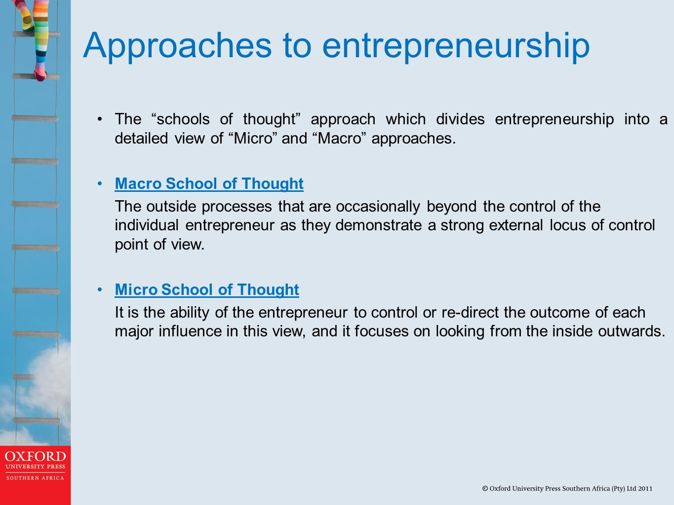 Approaches to entrepreneurship The schools of thought approach which divides entrepreneurship into a detailed view of Micro and Macro approaches.