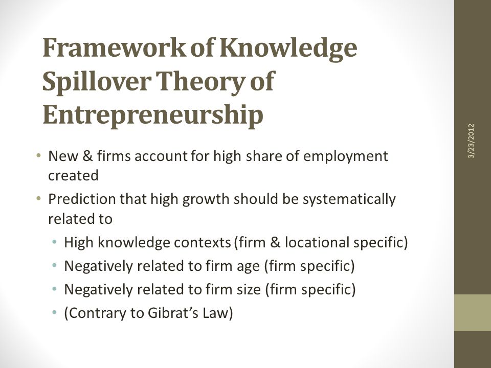 Framework of Knowledge Spillover Theory of Entrepreneurship New & firms account for high share of employment created Prediction that high growth should be systematically related to High knowledge contexts (firm & locational specific) Negatively related to firm age (firm specific) Negatively related to firm size (firm specific) (Contrary to Gibrat's Law) 3/23/2012