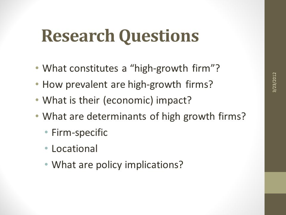 What Constitutes a High Growth Firm.
