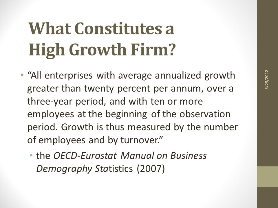 Temporal Impact of Entrepreneurship on Employment Growth in the United States (Source: Acs and Mueller, 2007) 3/23/2012