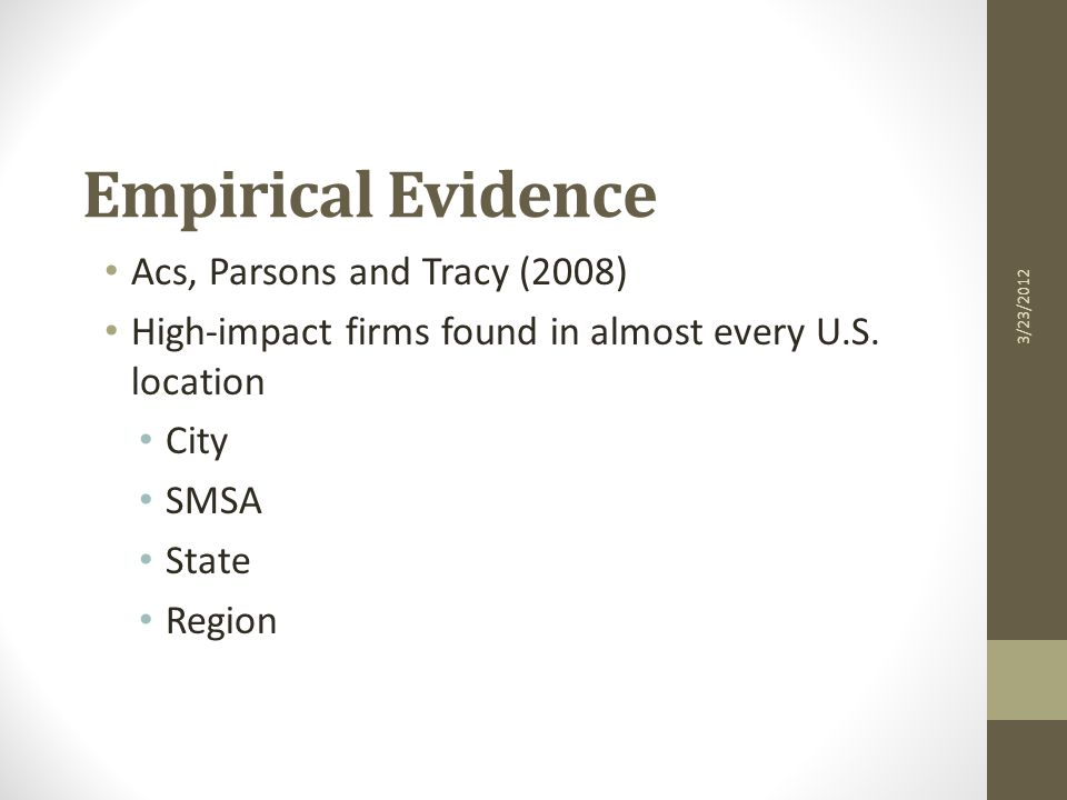 Empirical Evidence Acs, Parsons and Tracy (2008) High-impact firms found in almost every U.S.