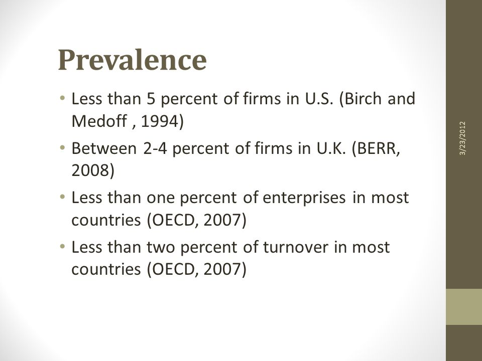 Prevalence Less than 5 percent of firms in U.S.