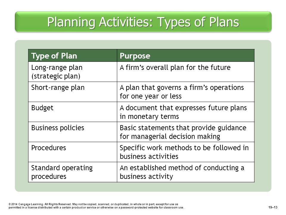 Planning Activities: Types of Plans © 2014 Cengage Learning.