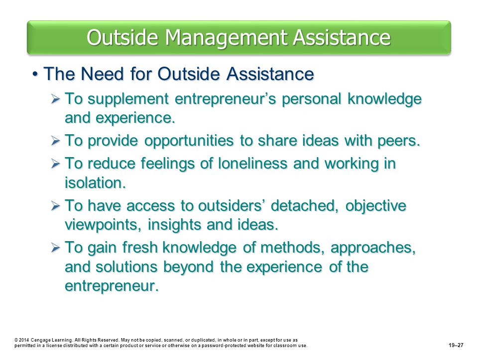 Outside Management Assistance The Need for Outside AssistanceThe Need for Outside Assistance  To supplement entrepreneur's personal knowledge and experience.
