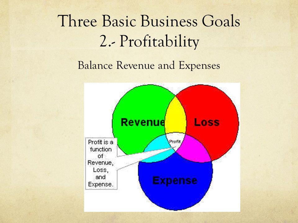 Three Basic Business Goals 2.- Profitability Balance Revenue and Expenses
