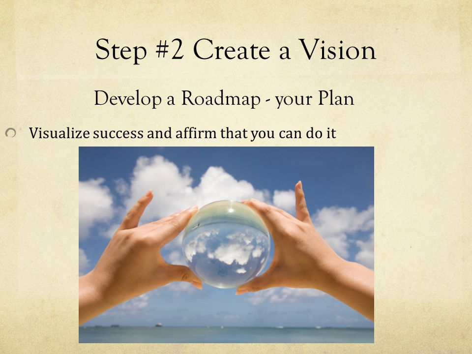 Step #2 Create a Vision Develop a Roadmap - your Plan Visualize success and affirm that you can do it
