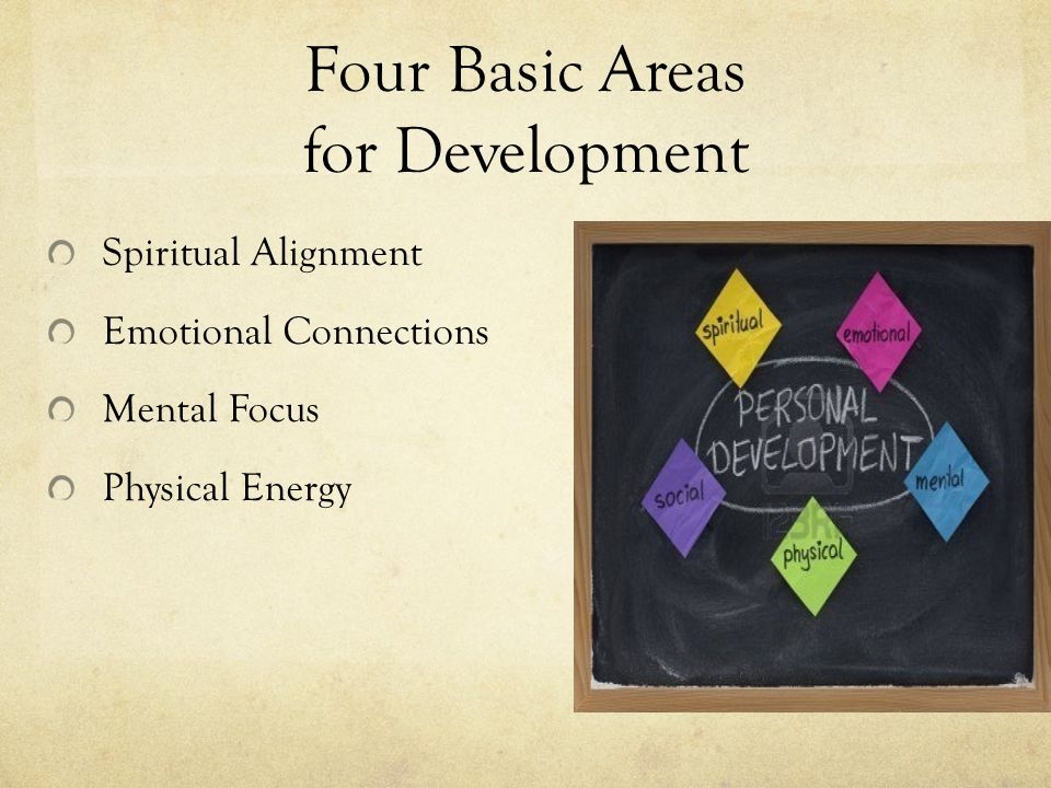 Four Basic Areas for Development Spiritual Alignment Emotional Connections Mental Focus Physical Energy