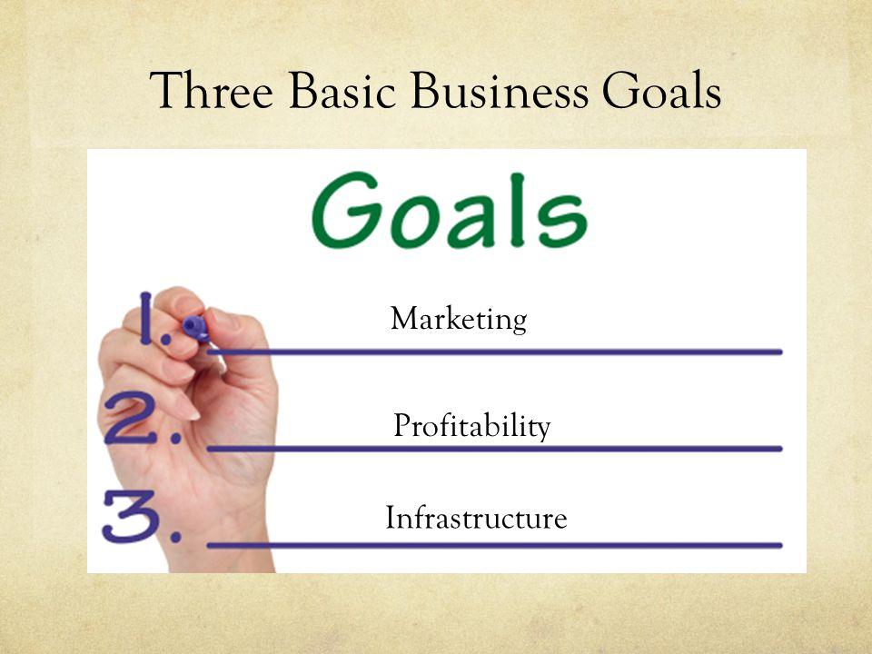Three Basic Business Goals Marketing Profitability Infrastructure