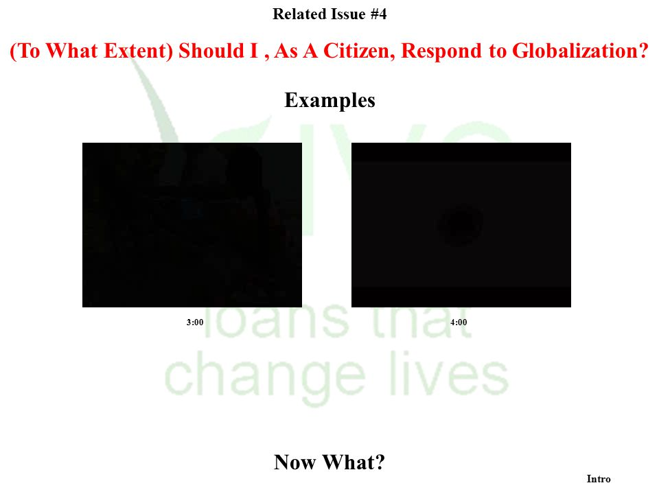 Related Issue #4 (To What Extent) Should I, As A Citizen, Respond to Globalization? Now What? Intro Examples 3:004:00