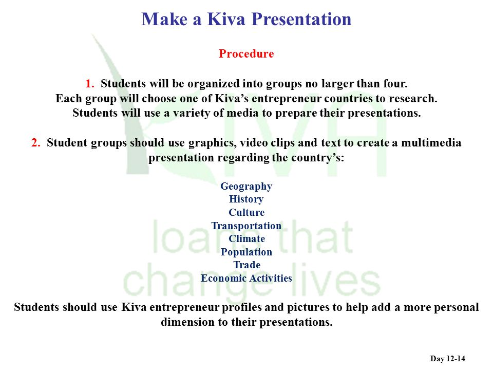 Procedure 1. Students will be organized into groups no larger than four. Each group will choose one of Kiva's entrepreneur countries to research. Stud