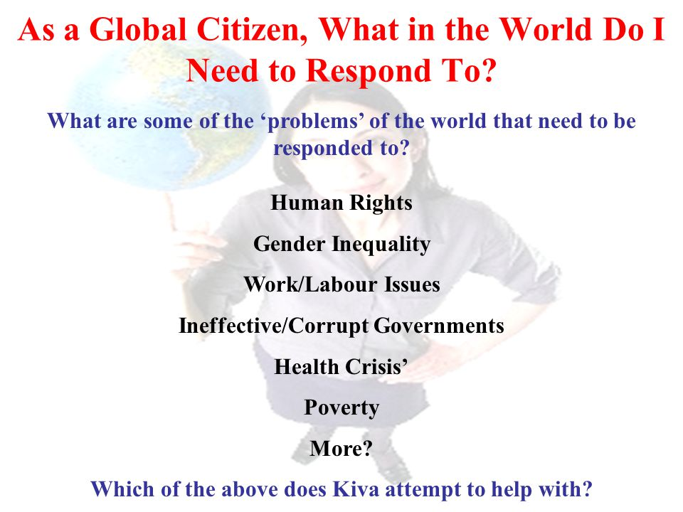 As a Global Citizen, What in the World Do I Need to Respond To? What are some of the 'problems' of the world that need to be responded to? Human Right