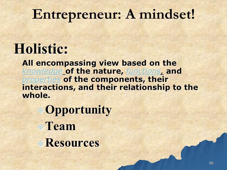 16 Entrepreneur: A mindset.