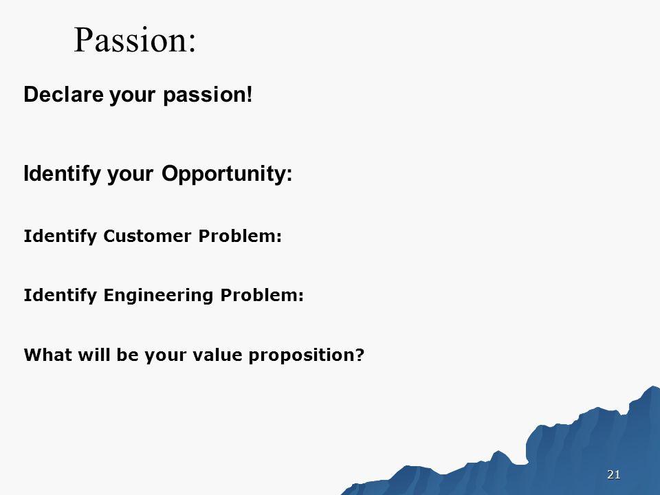 21 Passion: Declare your passion.
