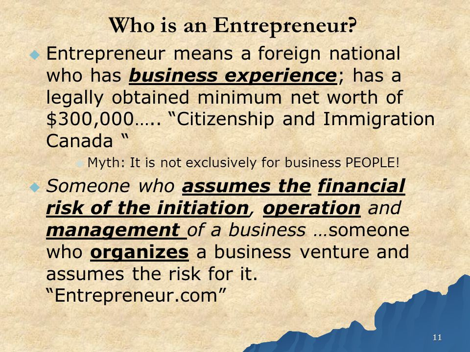11 Who is an Entrepreneur.