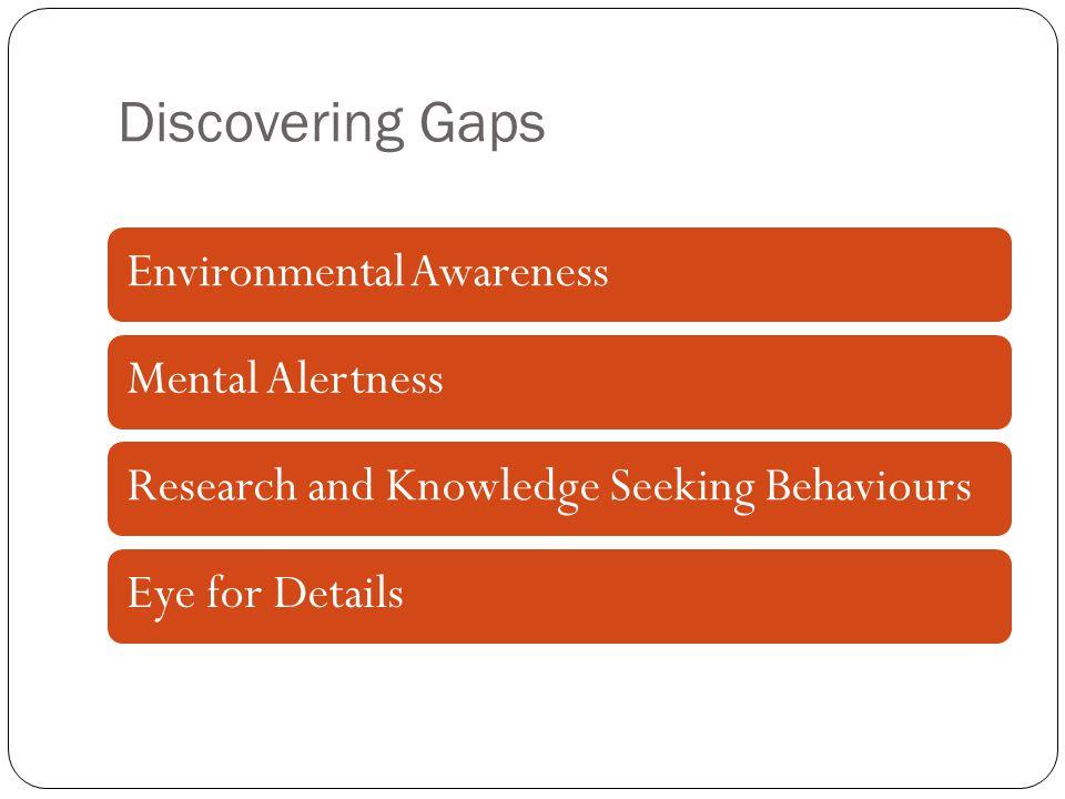 Discovering Gaps Environmental AwarenessMental AlertnessResearch and Knowledge Seeking BehavioursEye for Details