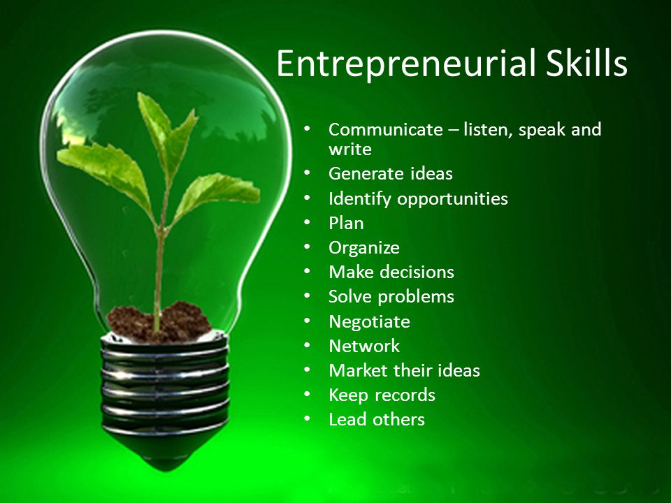Entrepreneurial Skills Communicate – listen, speak and write Generate ideas Identify opportunities Plan Organize Make decisions Solve problems Negotiate Network Market their ideas Keep records Lead others