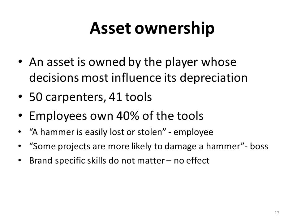 Asset ownership An asset is owned by the player whose decisions most influence its depreciation 50 carpenters, 41 tools Employees own 40% of the tools