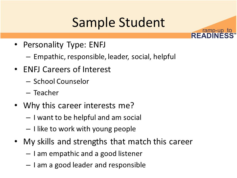Sample Student Personality Type: ENFJ – Empathic, responsible, leader, social, helpful ENFJ Careers of Interest – School Counselor – Teacher Why this career interests me.