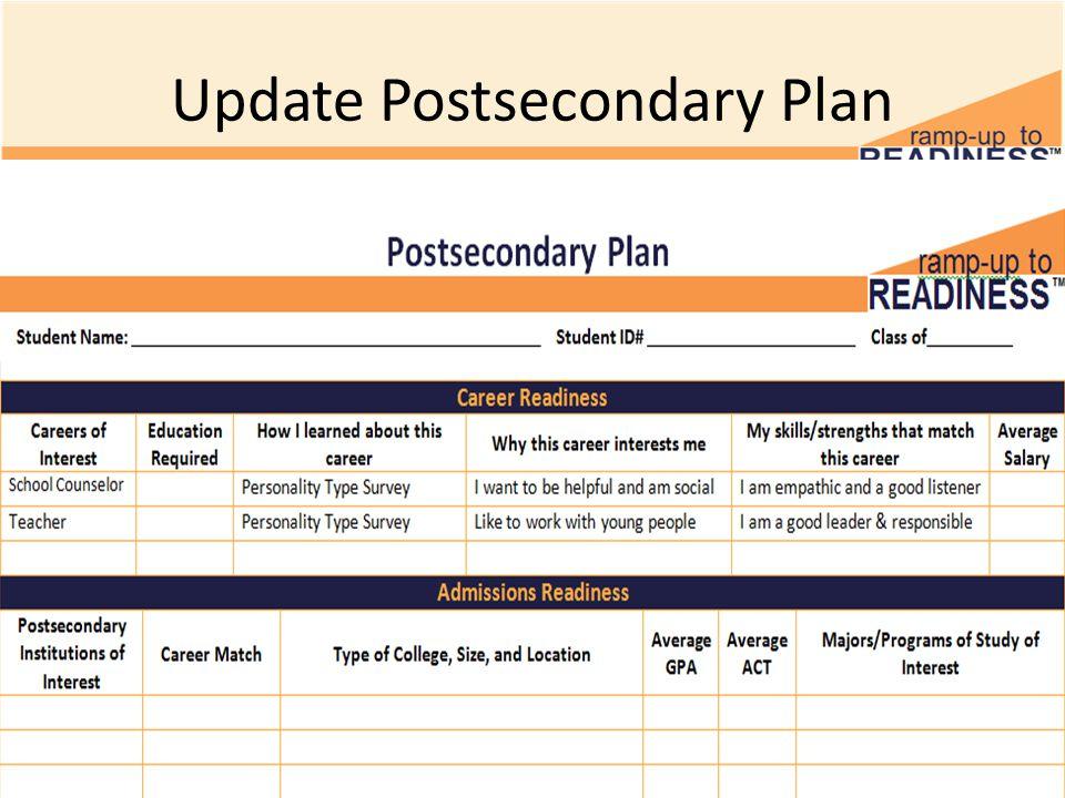 Update Postsecondary Plan
