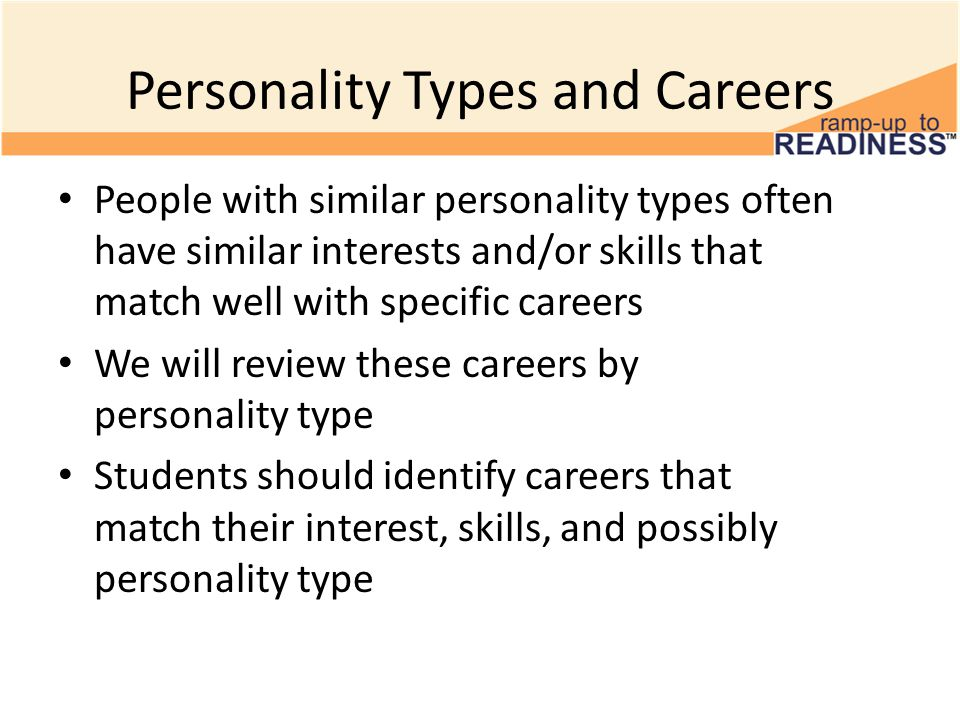 Careers by Personality Types ISTJ – Business Executive, Accountant, Police Officer, Detective – Judge, Lawyer, Doctor, Dentist, Computers, Military ISFJ – Interior Decorator, Designer, Nurse, Manager, Child C are – Counselor, Paralegal, Clergy, Shopkeeper, Bookkeeper INFJ – Clergy, Teacher, Doctors, Chiropractor, Counselor, Nurse – Musician, Photographer, Child Care, Dentist, Decorator INTJ – Scientist, Engineer, Professor, Doctor, Business Administrator – Military Leader, Lawyer, Judge, Computer Programmer