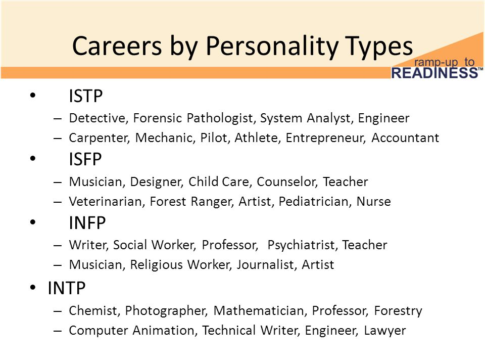 Careers by Personality Types ESTP – Sales Representative, Marketing, Police Officer, Detective – Paramedic, PC Technicians, Network Cabler, Entrepreneurs ESFP – Artist, Performer, Actor, Sales Representative, Counselor – Child Care, Designer, Consultant, Photographer, Decorator ENFP – Consultant, Entrepreneur, Actor, Teacher, Systems Analyst – Counselor, Politician, Journalist, Television Reporter, Scientist ENTP – Lawyer, Psychologist, Entrepreneur, Photographer, Consultant – Computer Engineer, Scientist, Actor, Salesperson, Marketing