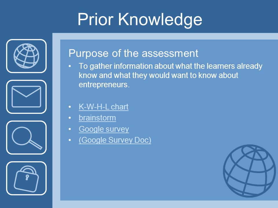 Prior Knowledge Purpose of the assessment To gather information about what the learners already know and what they would want to know about entrepreneurs.
