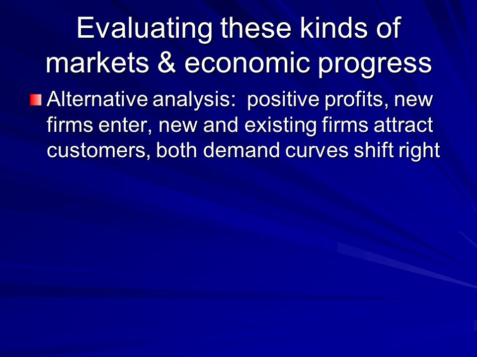 Evaluating these kinds of markets & economic progress Alternative analysis: positive profits, new firms enter, new and existing firms attract customers, both demand curves shift right