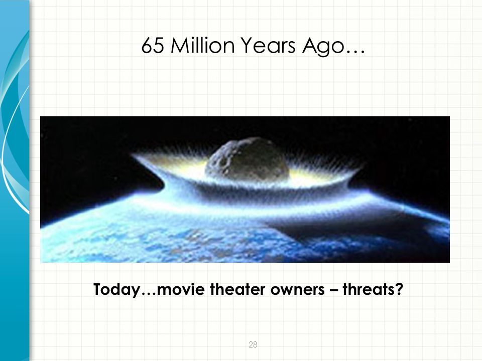 28 65 Million Years Ago… Today…movie theater owners – threats?
