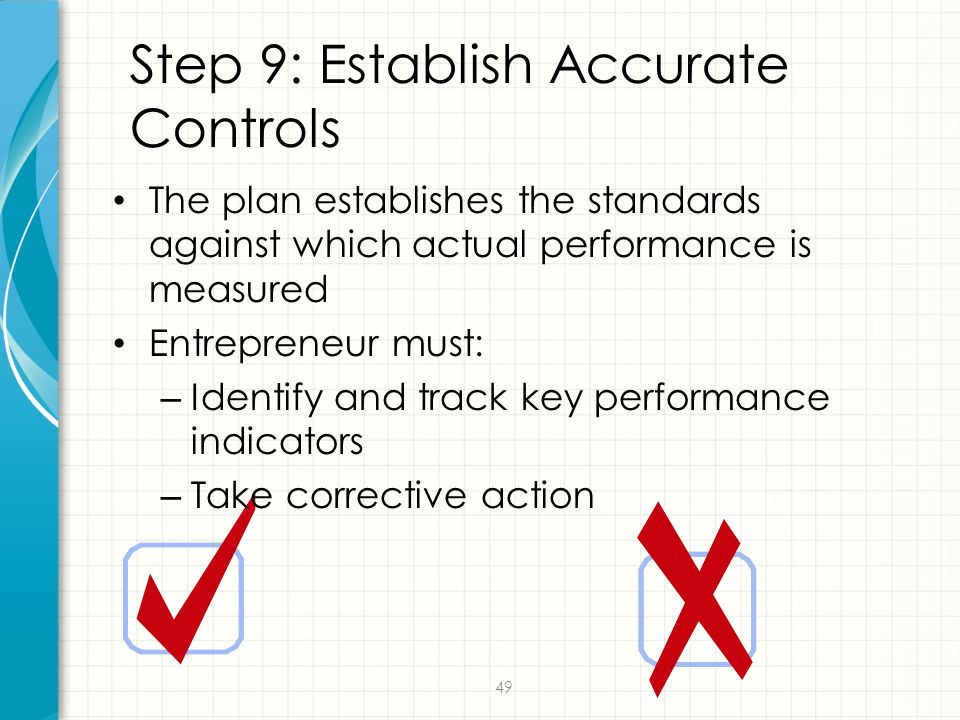 49 Step 9: Establish Accurate Controls The plan establishes the standards against which actual performance is measured Entrepreneur must: – Identify a