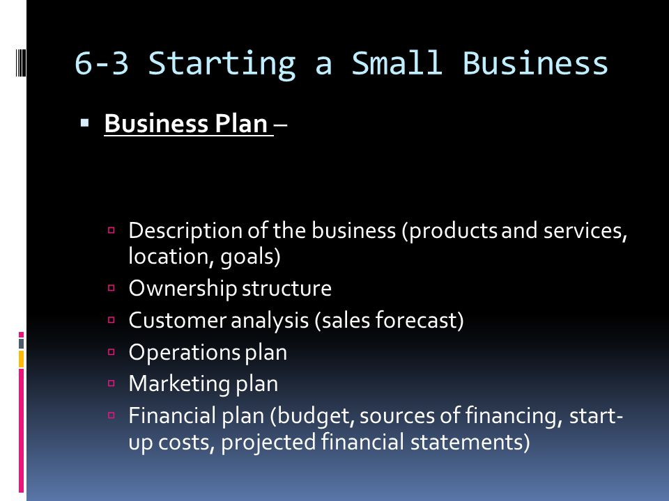 6-3 Starting a Small Business  Business Plan –  Description of the business (products and services, location, goals)  Ownership structure  Customer analysis (sales forecast)  Operations plan  Marketing plan  Financial plan (budget, sources of financing, start- up costs, projected financial statements)