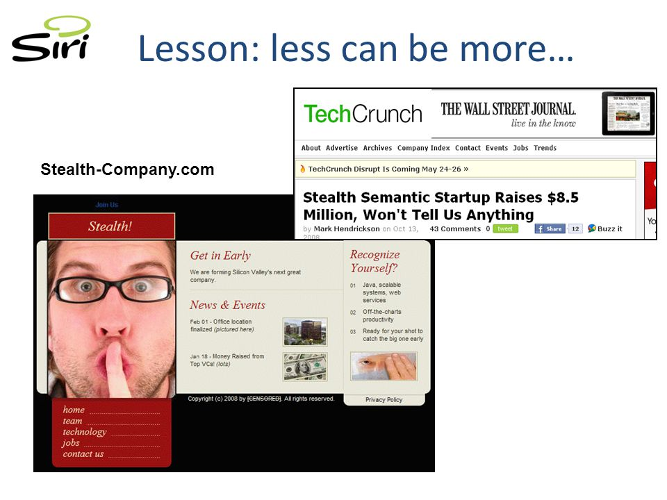 Lesson: less can be more… Stealth-Company.com