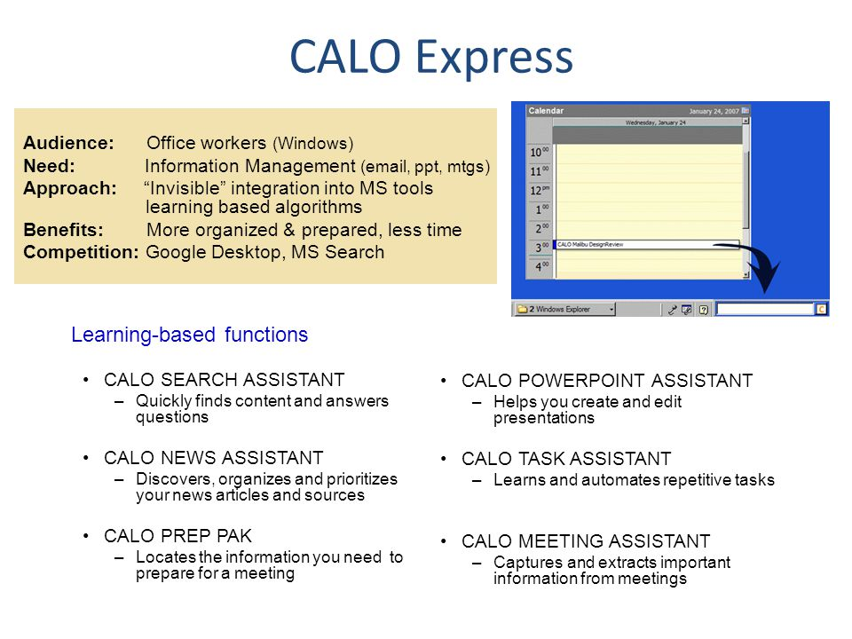 CALO Express CALO SEARCH ASSISTANT –Quickly finds content and answers questions CALO NEWS ASSISTANT –Discovers, organizes and prioritizes your news ar