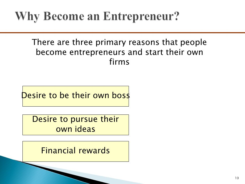10 There are three primary reasons that people become entrepreneurs and start their own firms Desire to be their own boss Financial rewards Desire to